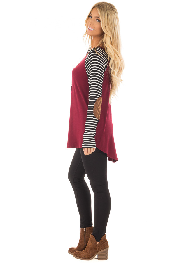 Burgundy Top with Striped Raglan Sleeves and Elbow Patches side full body