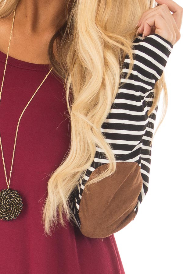 Burgundy Top with Striped Raglan Sleeves and Elbow Patches detail