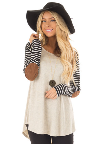 Oatmeal Top with Striped Raglan Sleeves and Elbow Patches front close up