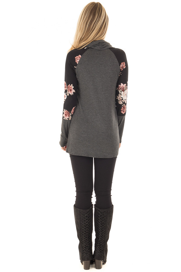 Charcoal Cowl Neck Top with Black Floral Raglan Sleeves back full body
