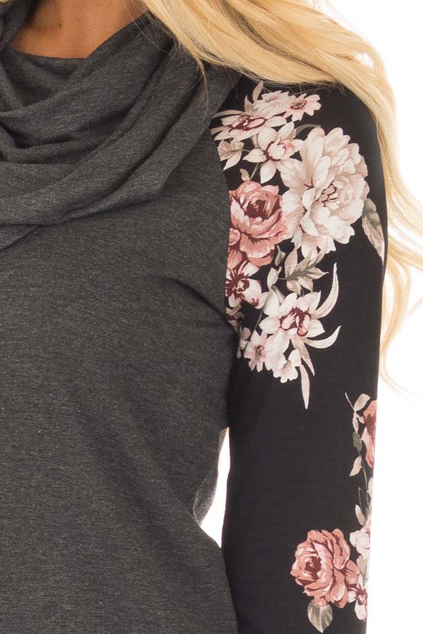 Charcoal Cowl Neck Top with Black Floral Raglan Sleeves detail