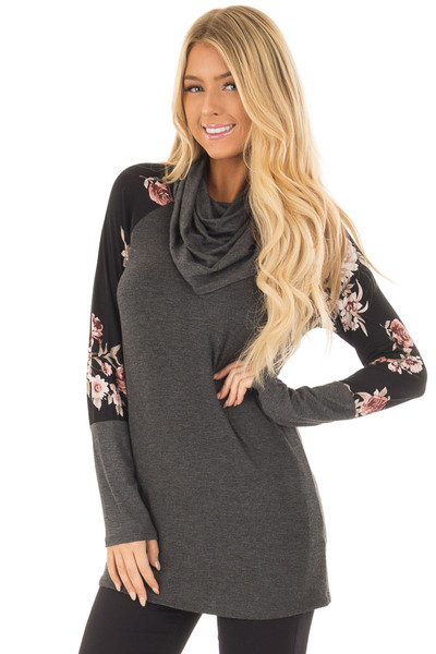 Charcoal Cowl Neck Top with Black Floral Raglan Sleeves front close up