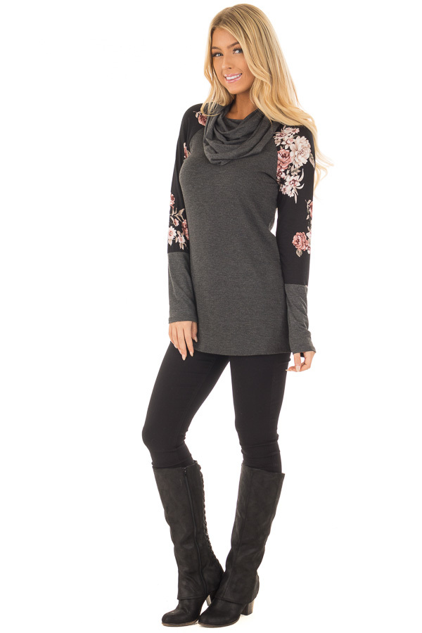 Charcoal Cowl Neck Top with Black Floral Raglan Sleeves front full body