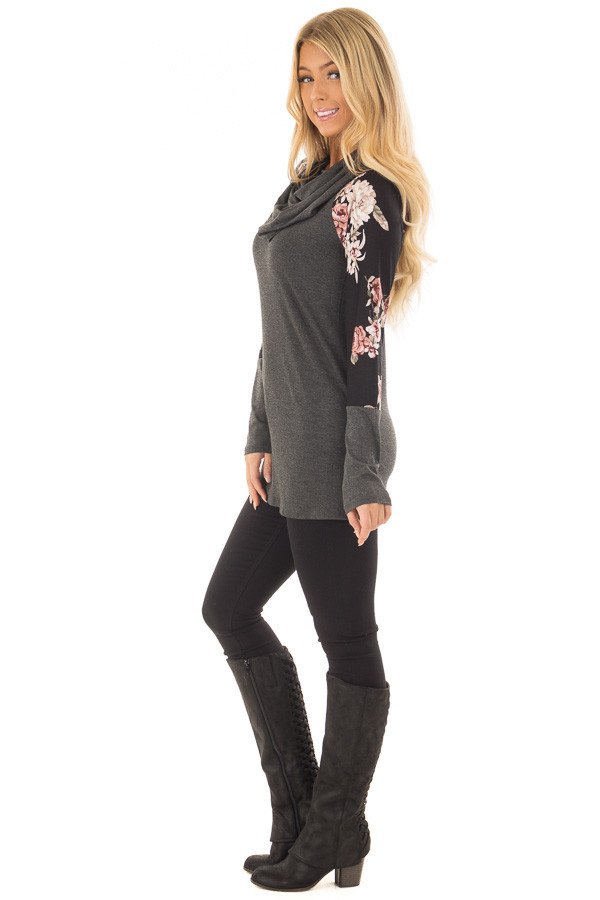 Charcoal Cowl Neck Top with Black Floral Raglan Sleeves side full body