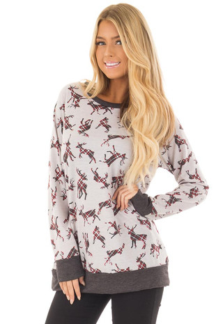 Heather Grey Long Sleeve Top with Plaid Reindeer Pattern front close up