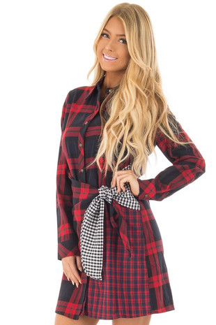 Red Plaid Collared Long Sleeve Dress with Accent Waist Tie front close up