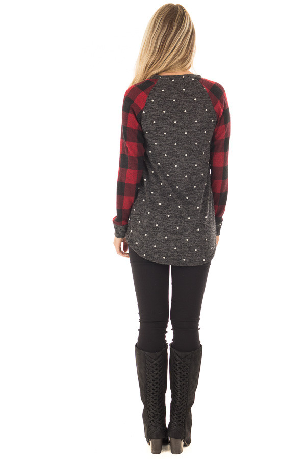 Charcoal and Red Plaid Long Sleeve Top with Polka Dots back full body