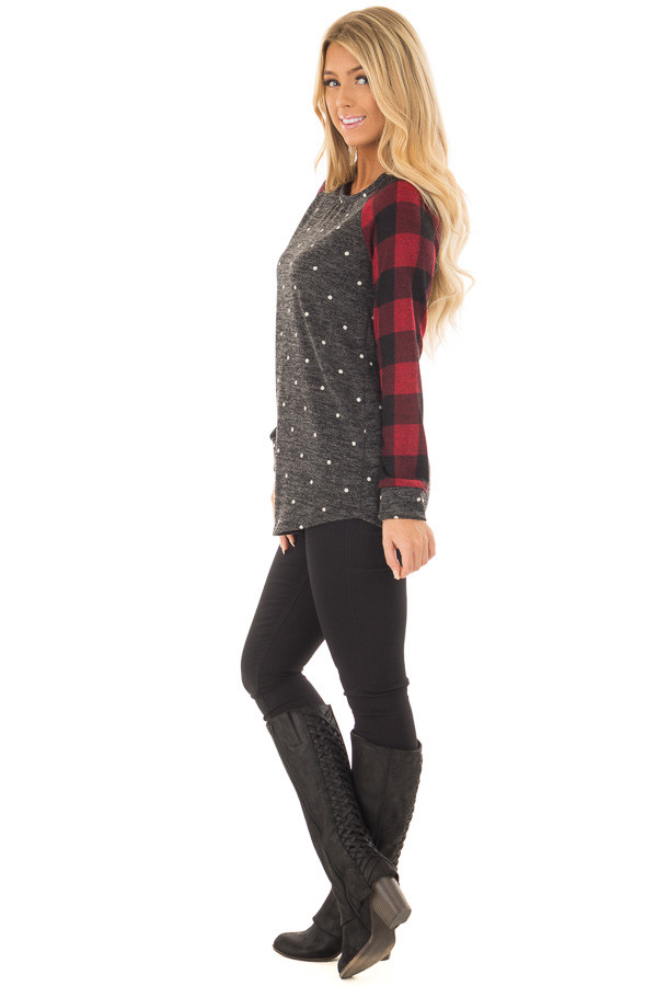 Charcoal and Red Plaid Long Sleeve Top with Polka Dots side full body