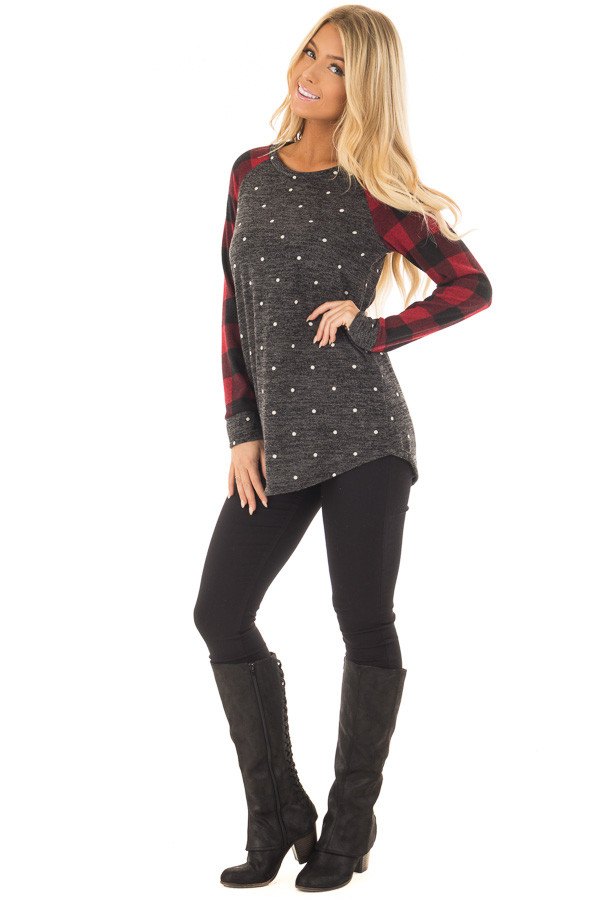 Charcoal and Red Plaid Long Sleeve Top with Polka Dots front full body