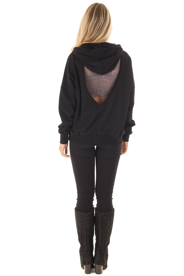 Black Hoodie with Cut Out V Neck and Open Back back full body