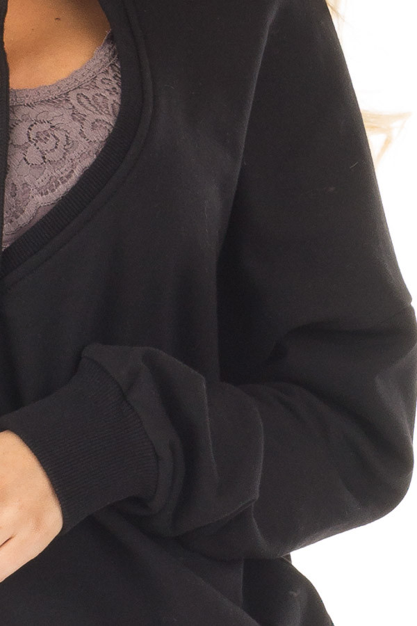 Black Hoodie with Cut Out V Neck and Open Back detail