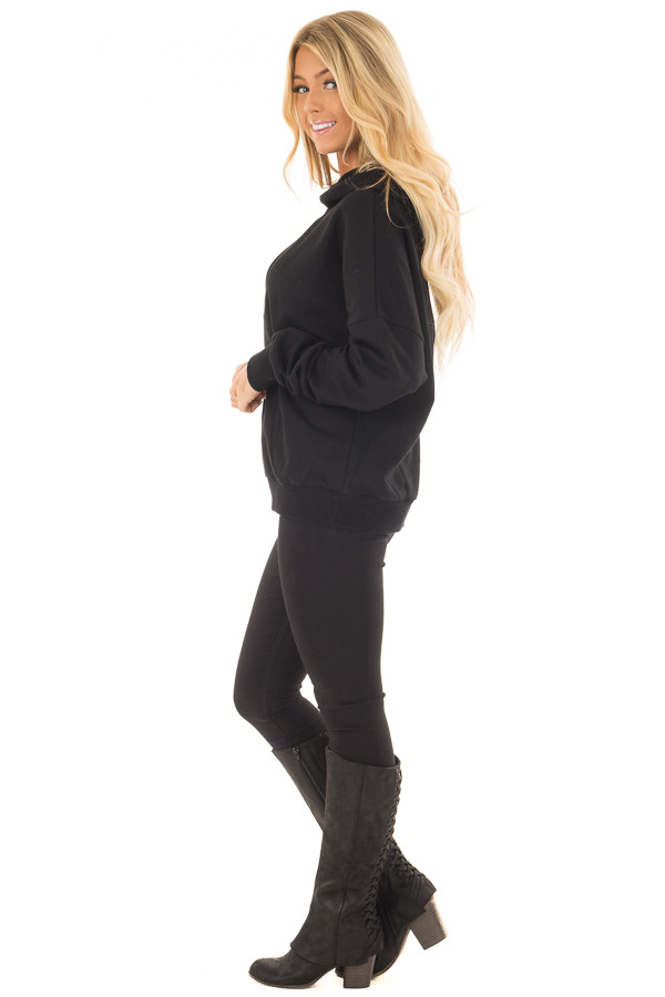 Black Hoodie with Cut Out V Neck and Open Back side full body