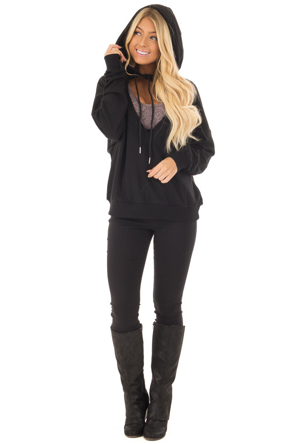 Black Hoodie with Cut Out V Neck and Open Back front full body