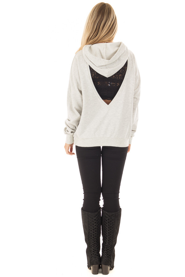 Heather Grey Hoodie with Cut Out V Neck and Open Back back full body