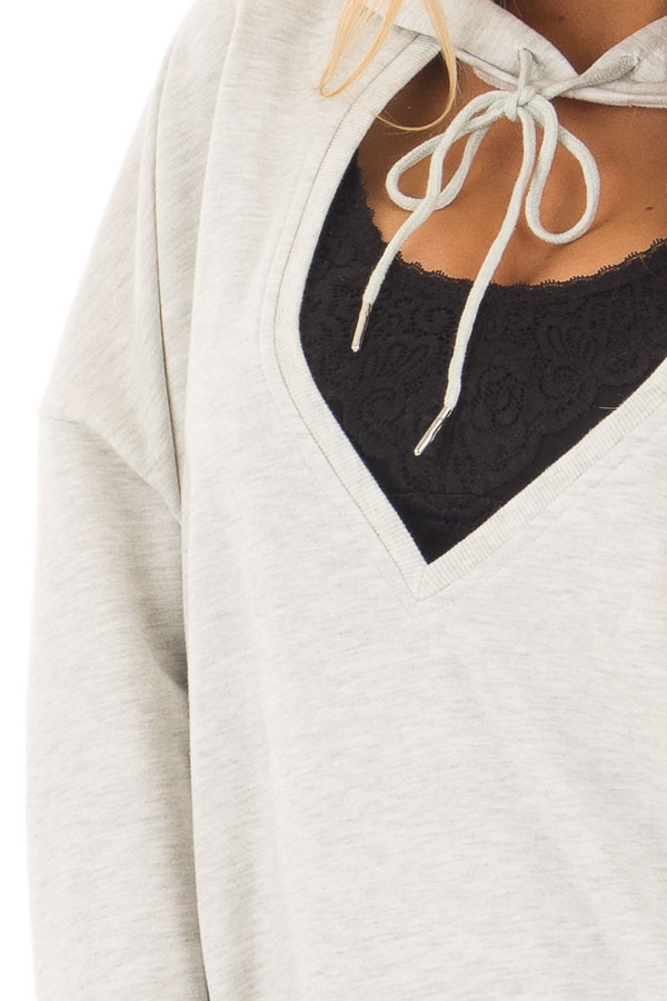 Heather Grey Hoodie with Cut Out V Neck and Open Back detail