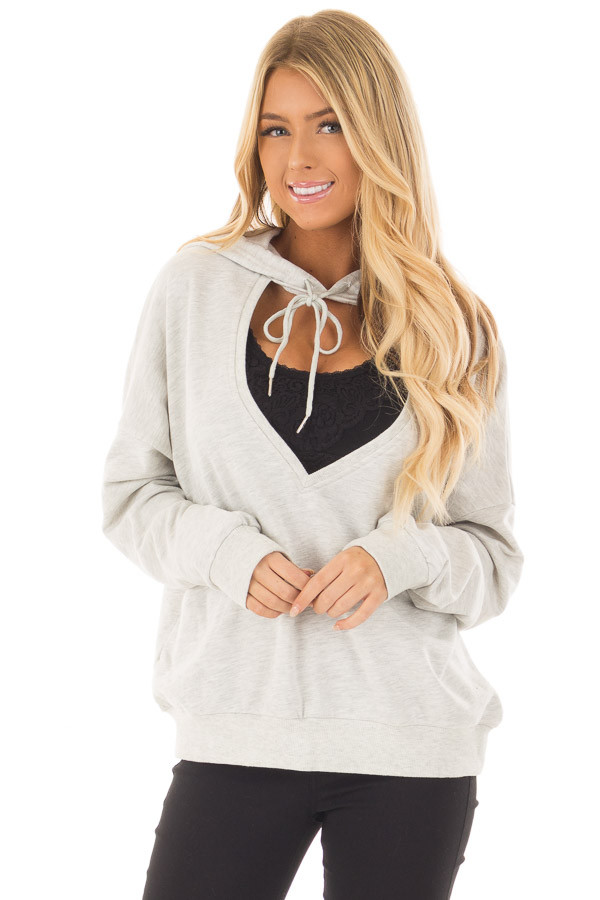 Heather Grey Hoodie with Cut Out V Neck and Open Back front close up