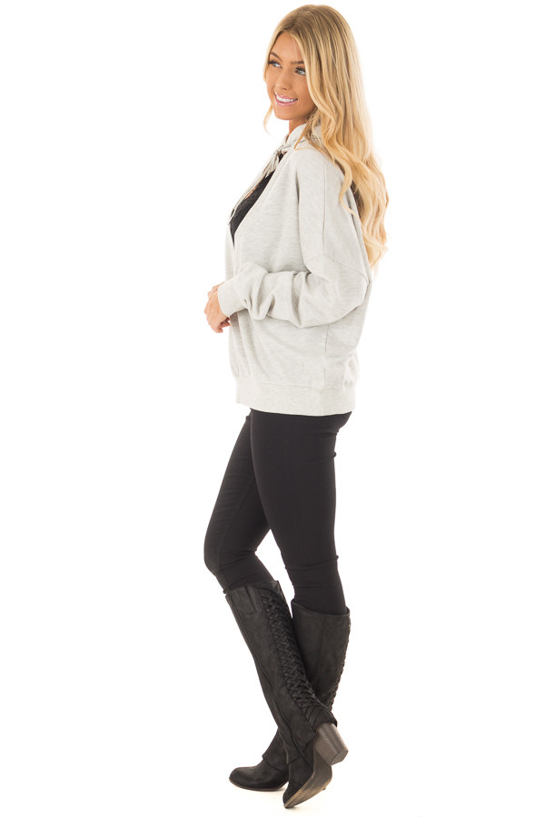 Heather Grey Hoodie with Cut Out V Neck and Open Back side full body