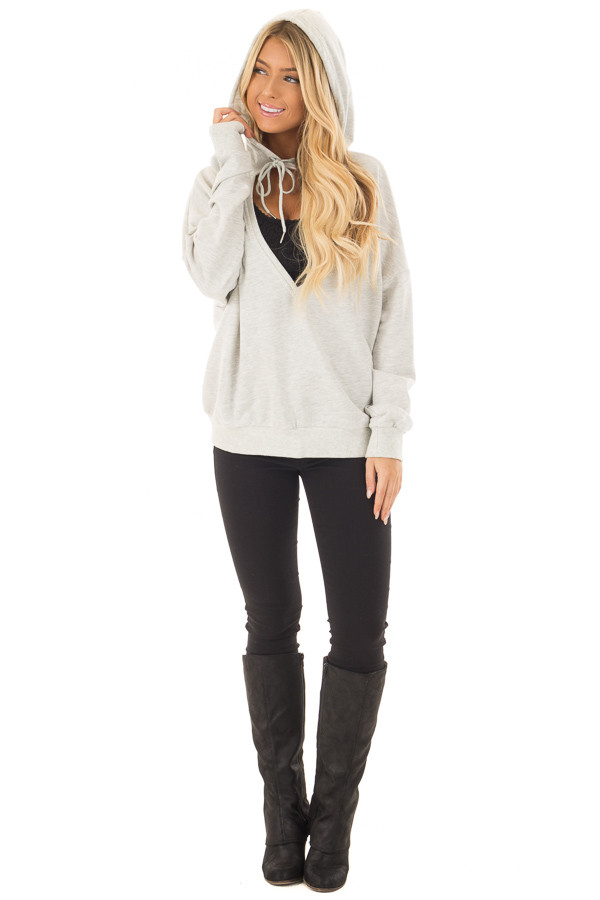 Heather Grey Hoodie with Cut Out V Neck and Open Back front full body