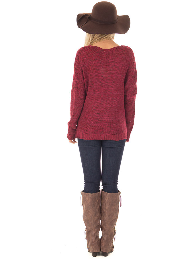 Burgundy Thick Knit Sweater with Overlap Detail back full body