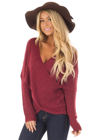 Burgundy Thick Knit Sweater with Overlap Detail front close up