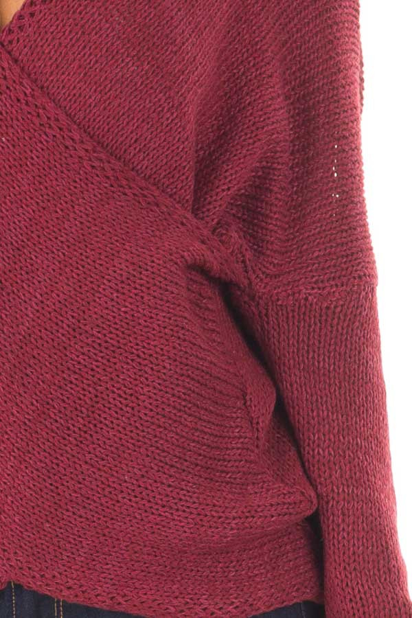Burgundy Thick Knit Sweater with Overlap Detail detail