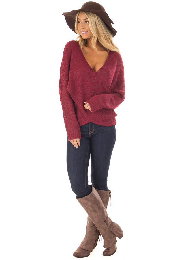 Burgundy Thick Knit Sweater with Overlap Detail front full body