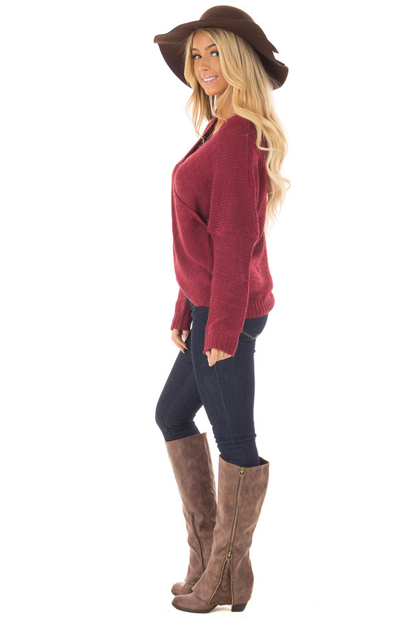 Burgundy Thick Knit Sweater with Overlap Detail side full body
