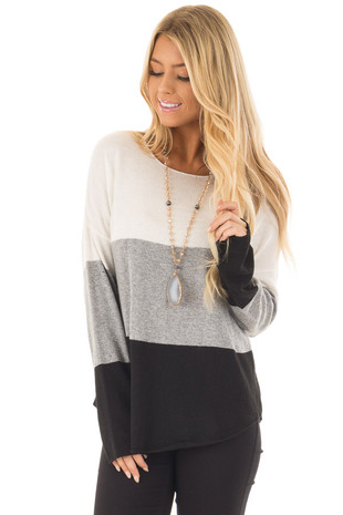 Ivory Grey and Black Long Sleeve Color Block Sweater front close up