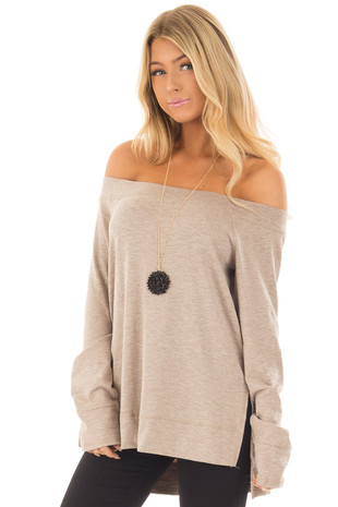 Mocha Long Sleeve Off the Shoulder Top front close up