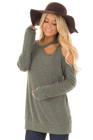 Sage Long Sleeve Cold Shoulder Top with Chest Cutout front closeup