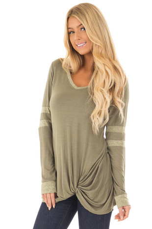 Olive Long Sleeve Top with Stripe Detail and Twist Front front closeup