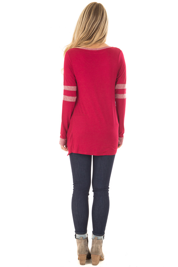 Burgundy Long Sleeve Top with Stripe Detail and Twist Front back full body
