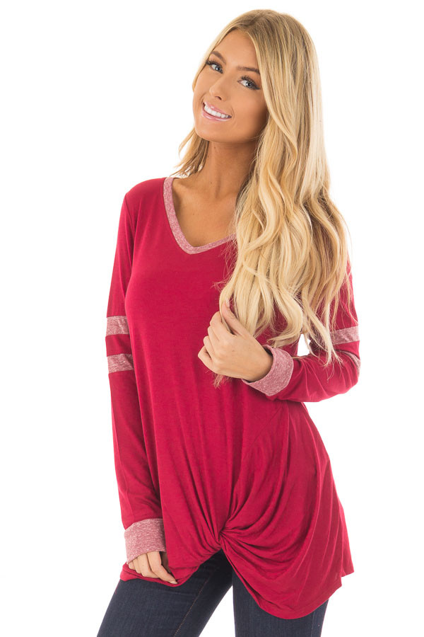 Burgundy Long Sleeve Top with Stripe Detail and Twist Front front closeup