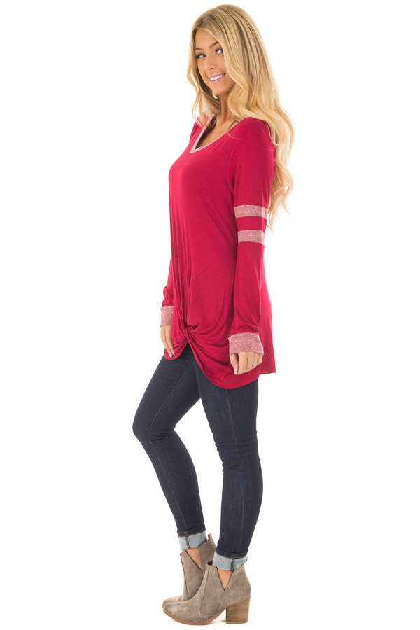 Burgundy Long Sleeve Top with Stripe Detail and Twist Front side full body