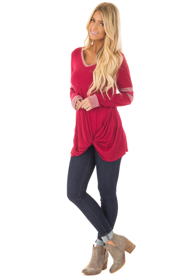Burgundy Long Sleeve Top with Stripe Detail and Twist Front front full body