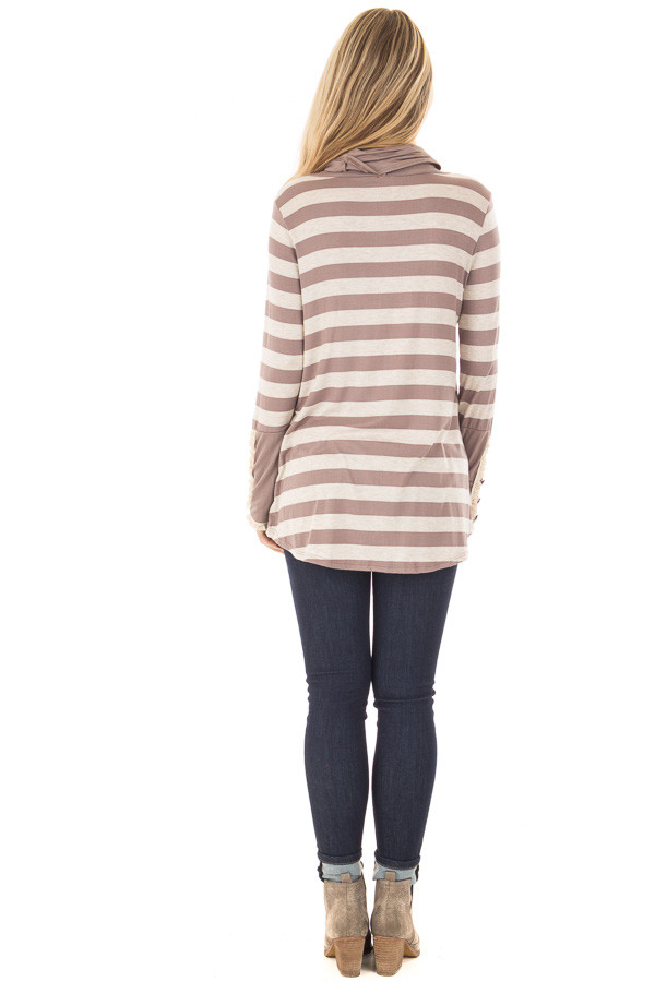 Taupe Striped Long Sleeve Cowl Neck Top back full body