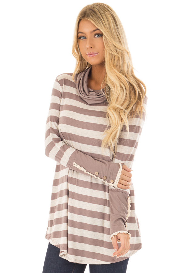 Taupe Striped Long Sleeve Cowl Neck Top front closeup