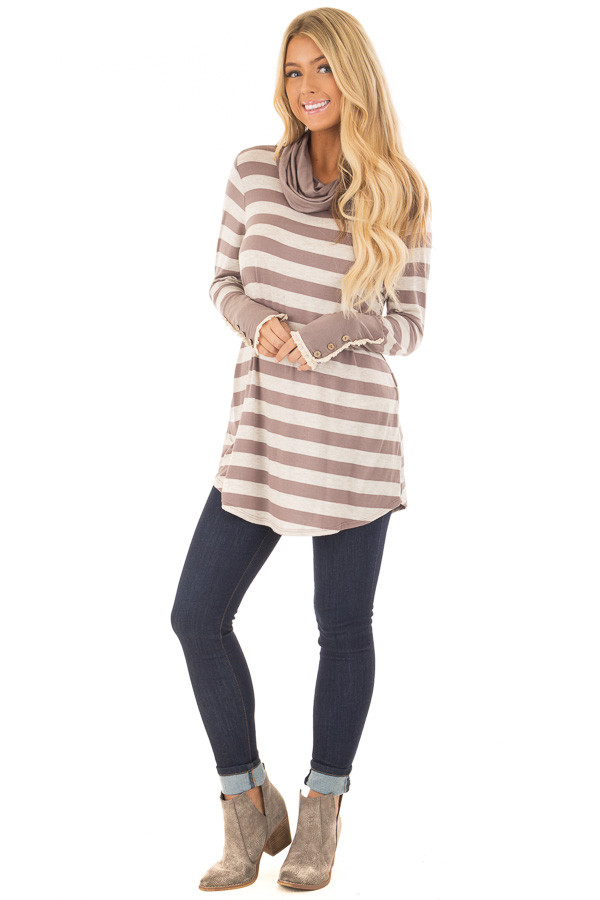 Taupe Striped Long Sleeve Cowl Neck Top front full body