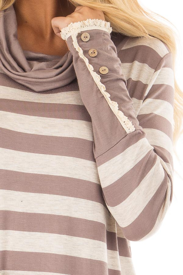 Taupe Striped Long Sleeve Cowl Neck Top front detail