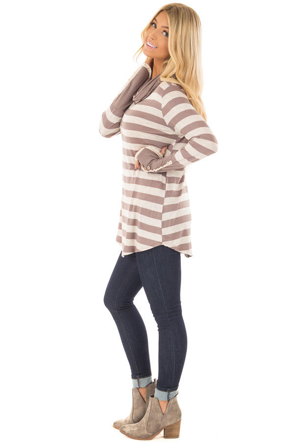 Taupe Striped Long Sleeve Cowl Neck Top side full body
