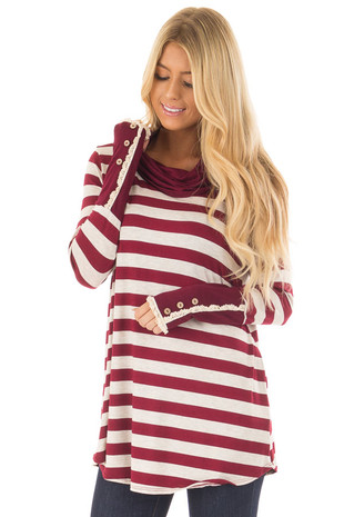 Burgundy Striped Long Sleeve Cowl Neck Top front closeup