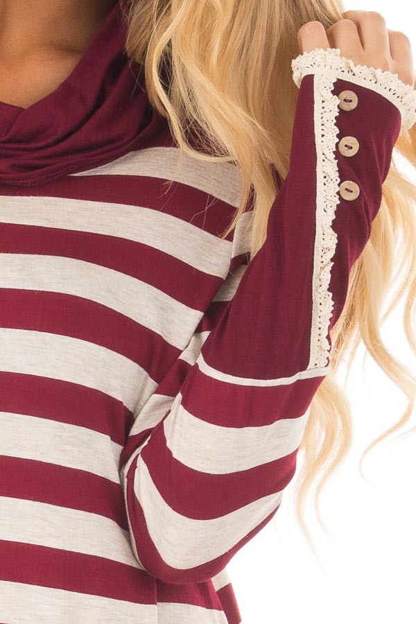 Burgundy Striped Long Sleeve Cowl Neck Top front detail