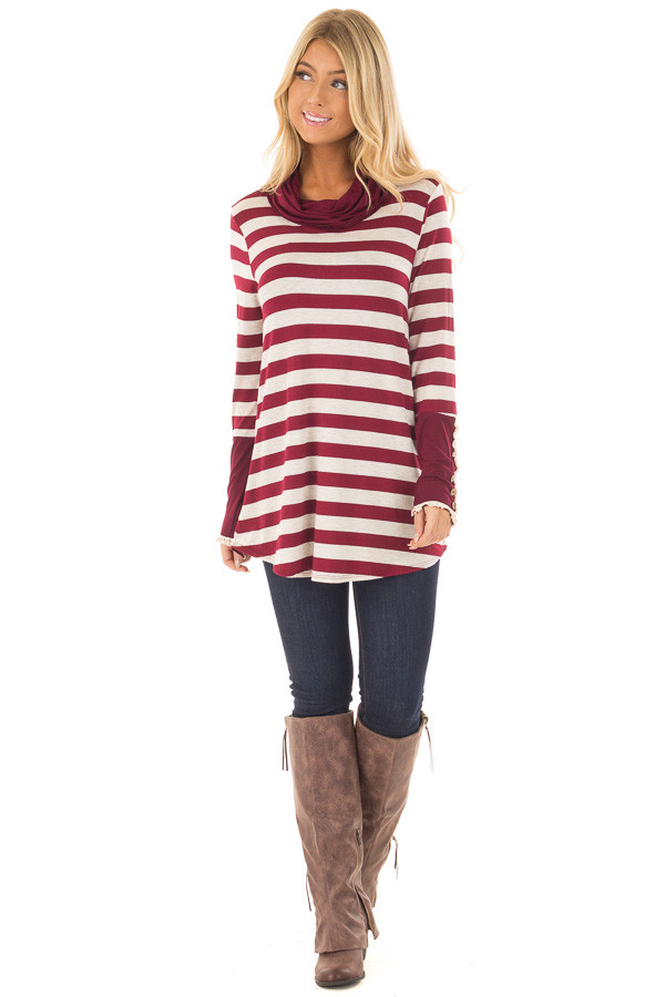 Burgundy Striped Long Sleeve Cowl Neck Top front full body