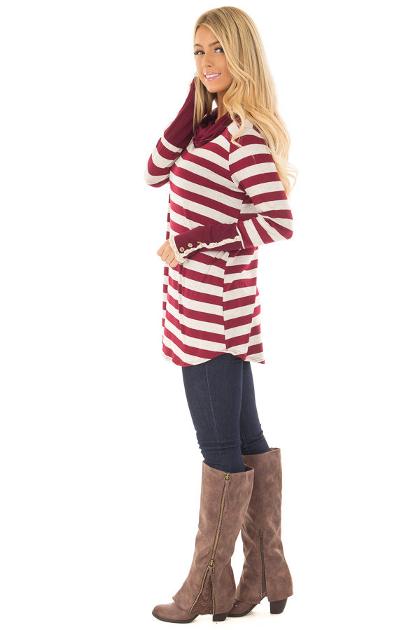 Burgundy Striped Long Sleeve Cowl Neck Top side full body