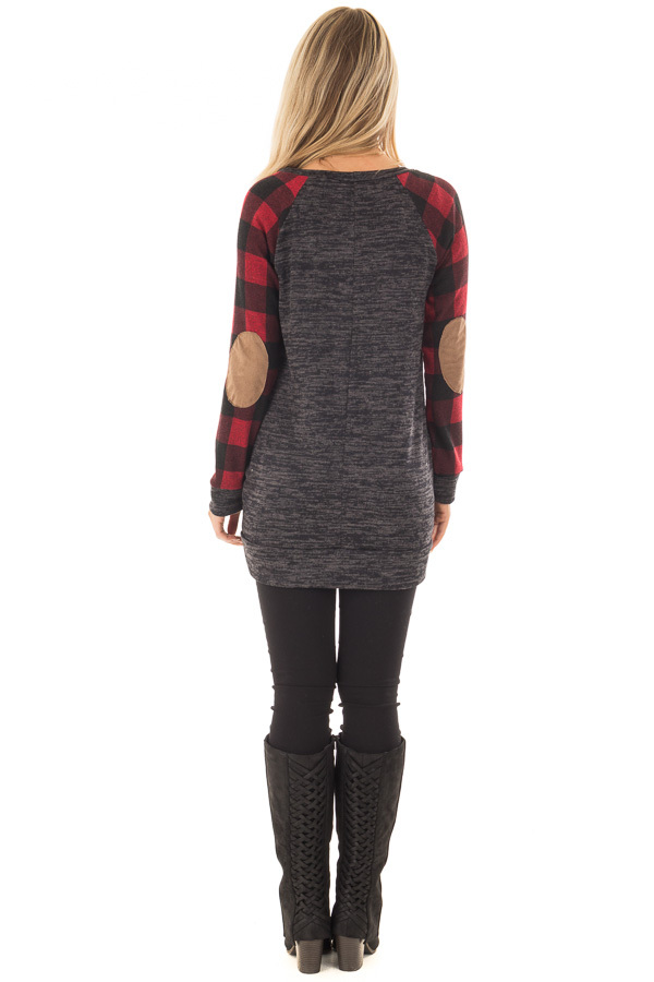 Charcoal Sweater with Plaid Raglan Sleeves and Elbow Patch back full body