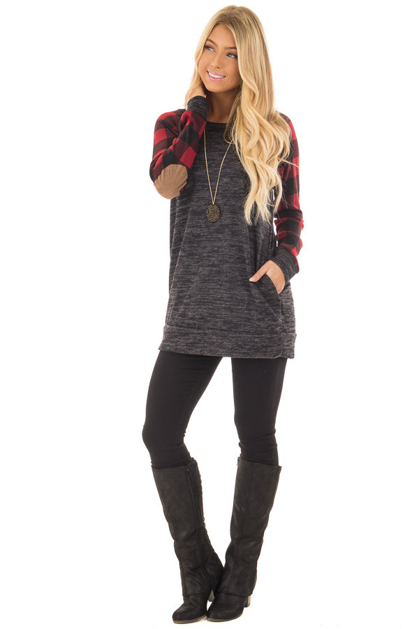 Charcoal Sweater with Plaid Raglan Sleeves and Elbow Patch front full body