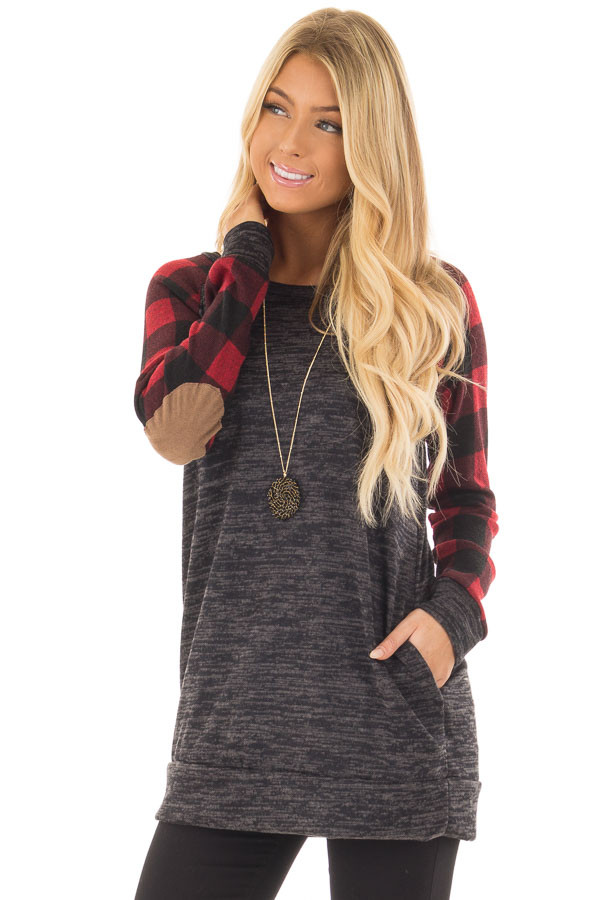 Charcoal Sweater with Plaid Raglan Sleeves and Elbow Patch front close up