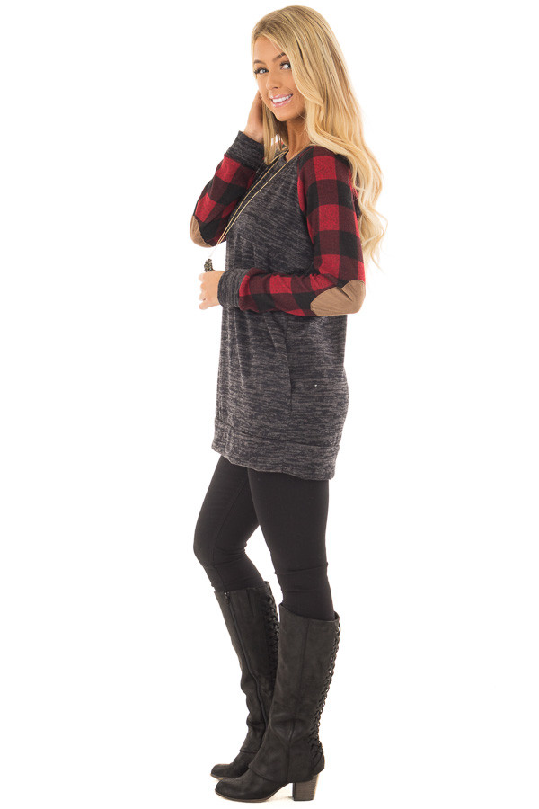 Charcoal Sweater with Plaid Raglan Sleeves and Elbow Patch side full body