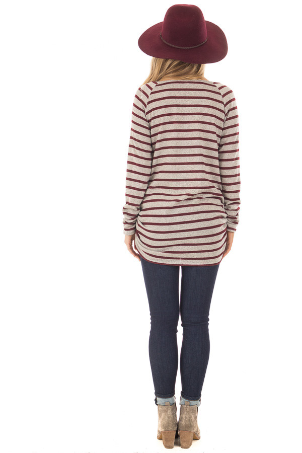 Burgundy and Heather Grey Striped Long Sleeve Top back full body