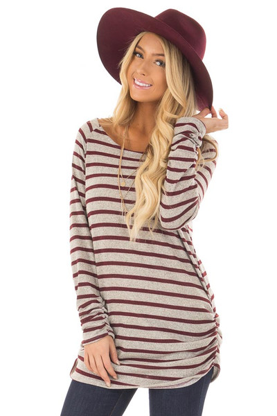 Burgundy and Heather Grey Striped Long Sleeve Top front close up